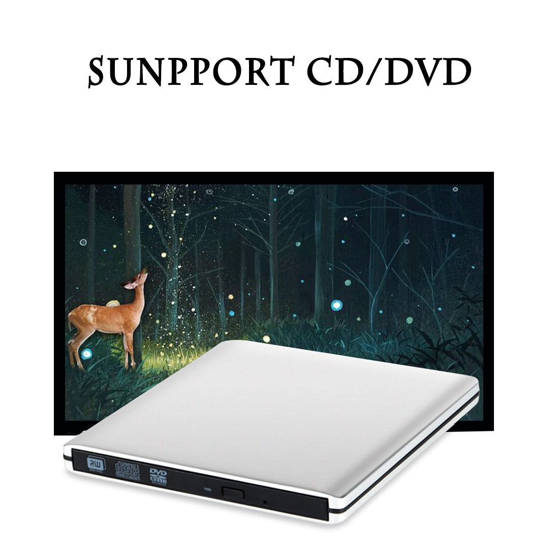 External DVD CD Drive, Sunreal USB 3.0 Portable CD/DVD-RW Player/Burner/Writer, Optical DVD Superdrive for Laptop/Desktop/Computer Support Windows by Sunreal (Image #7)
