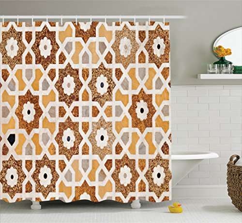 Asian Carving (Antique Shower Curtain by Ambesonne, Detail of Inlay and Geometric Carvings Asian Taj Mahal Tomb Architecture, Fabric Bathroom Decor Set with Hooks, 84 Inches Extra Long, Cream Orange Brown)