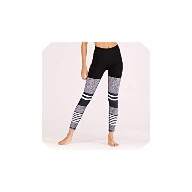 Yoga Pants Striped Women Sports High Waist Running Jogging ...