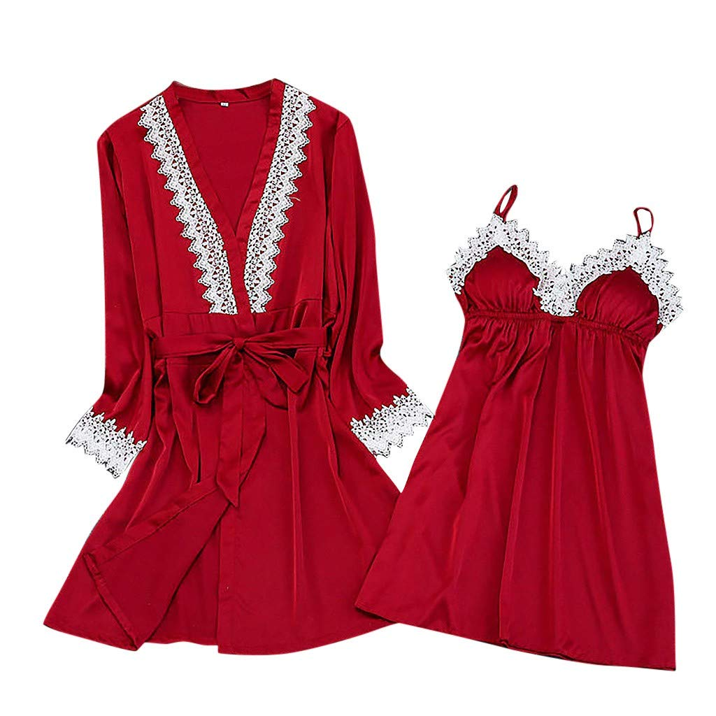 2019 New !Women's Silk Lace Lingerie Robe Dress Babydoll Sleepwear Nightdress Soft Pajamas Set Have a Good Dream (Red, S)