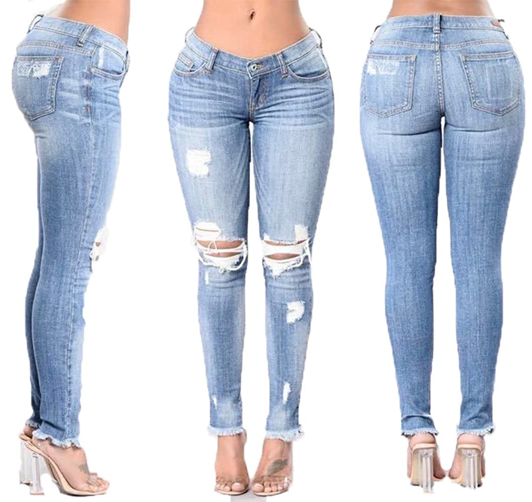 Womens Low Rise Destroyed/Ripped Stretchy Denim Skinny Jeans Trousers Pants
