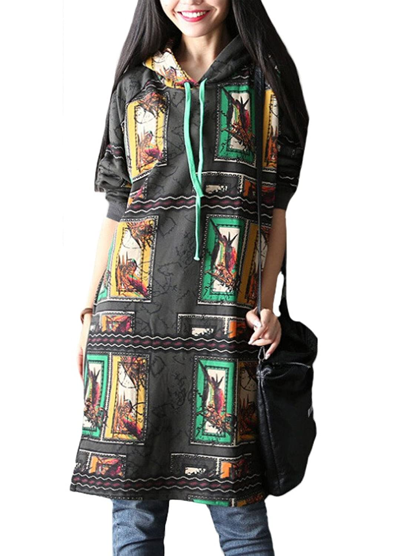 MatchLife Damen Batwing Printed Sweatshirts Hoodie Top