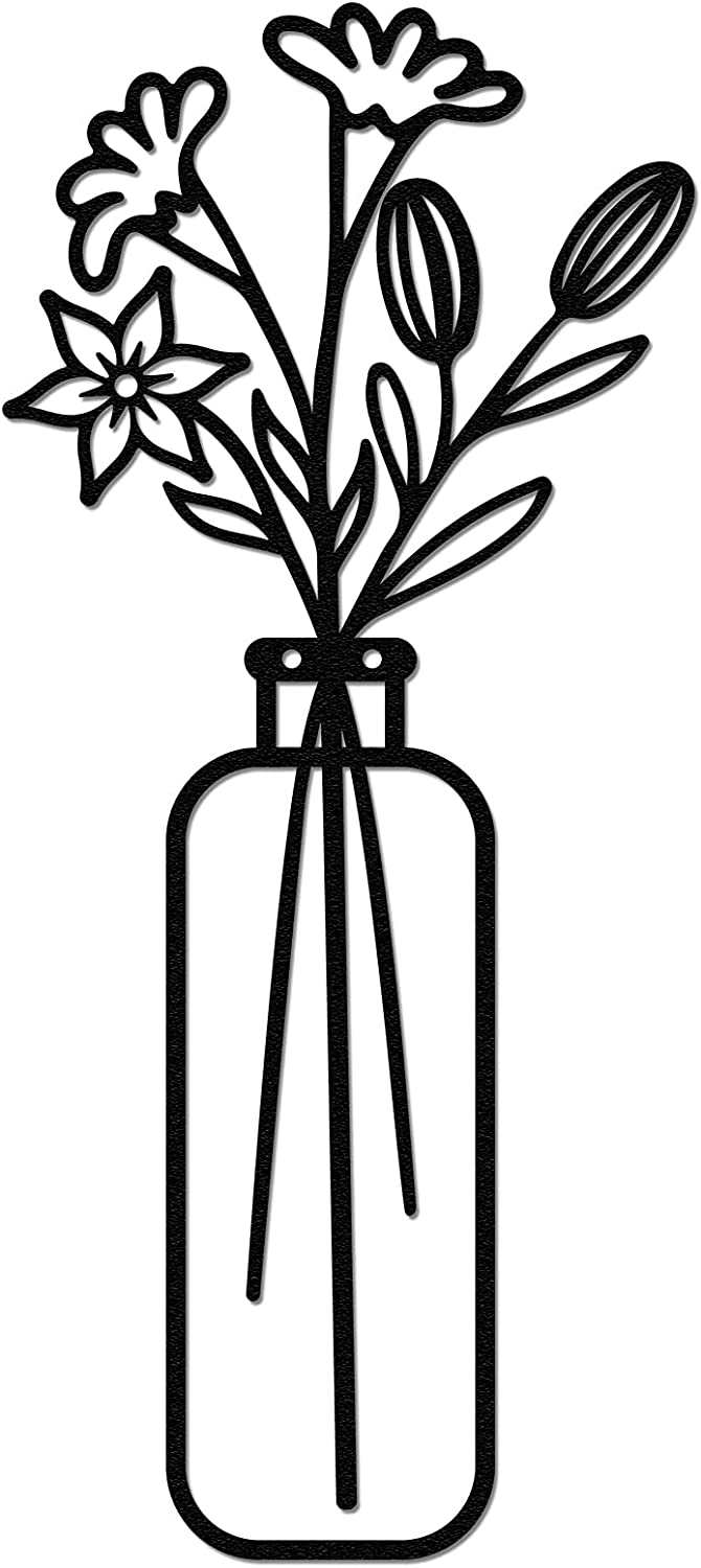 Vase Metal Wall Art, Qmetalart Flower in Vase Wall Decorations for Living Room Kitchen Bedroom Bathroom Home Wall Decor Lovers Housewarming Gift - Straight