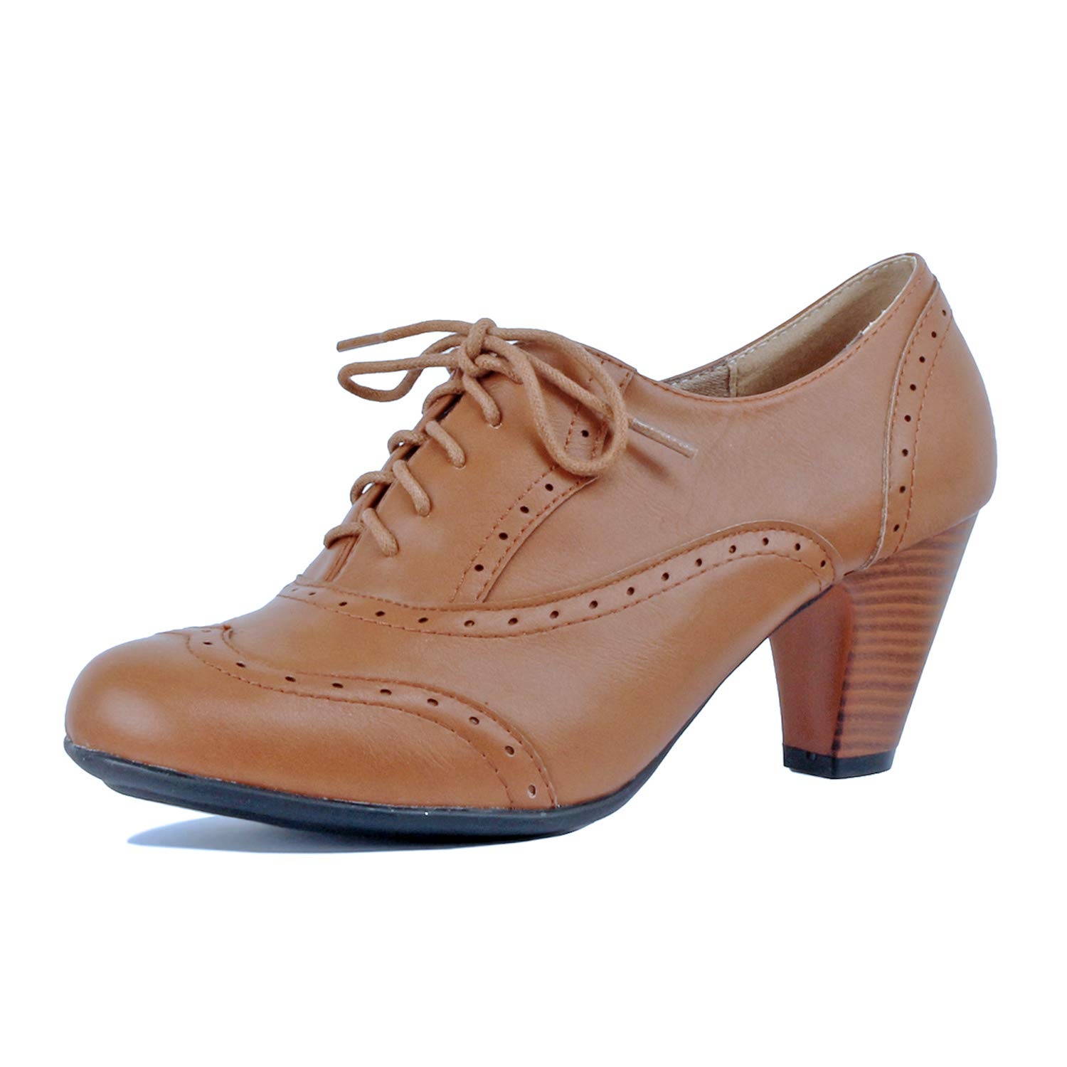 Guilty Shoes - Womens Classic Retro Two Tone Embroidery - Wing Tip Lace up Kitten Heel Oxford Pumps (6.5 B(M) US, Tanv3 Pu)