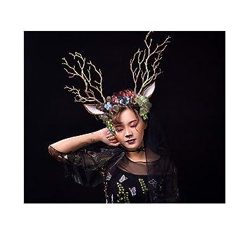 Diadema de árbol con diseño de flores de ciervo y orejas de ciervo ...