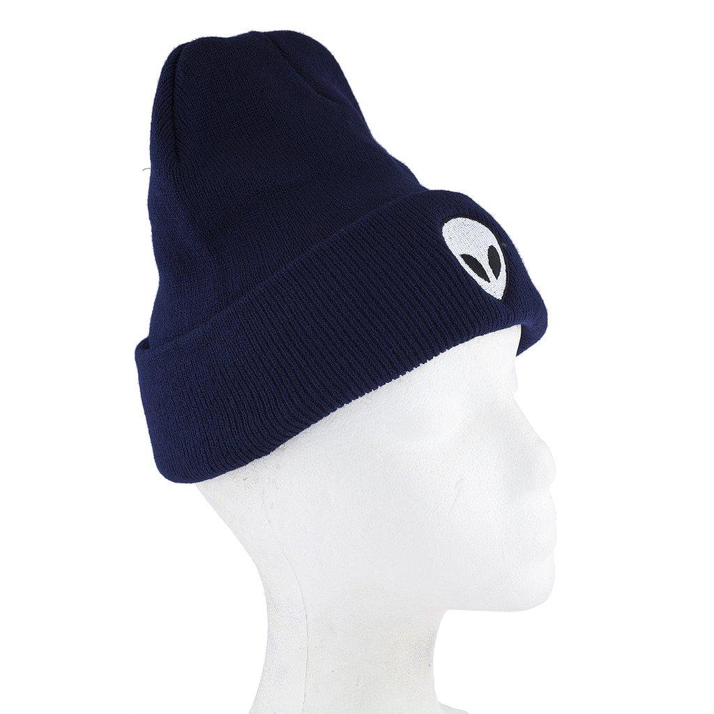 16264a514aa Lux Accessories Navy Blue White Black Alien Beanie Hat HT57094-1-HT63