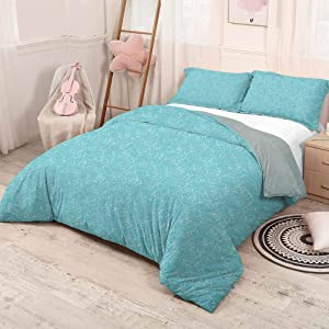 HELLOLEON (Queen) Turquoise Pure Bedding Hotel Luxury Bed Linen Abstract Ocean Waves Pattern Summer Inspired Vintage Grunge Illustration Polyester - Soft and Breathable Pale Blue White
