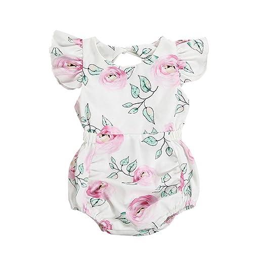 124a3adcdcde Amazon.com  Memela Baby Girls Clothes Ruffles Sleeve Bodysuit 0-24 ...