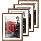 Edenseelake 5x7 Picture Frame 4PCS Rustic Brown Photo Frames for Wall Hanging and Tabletop Display