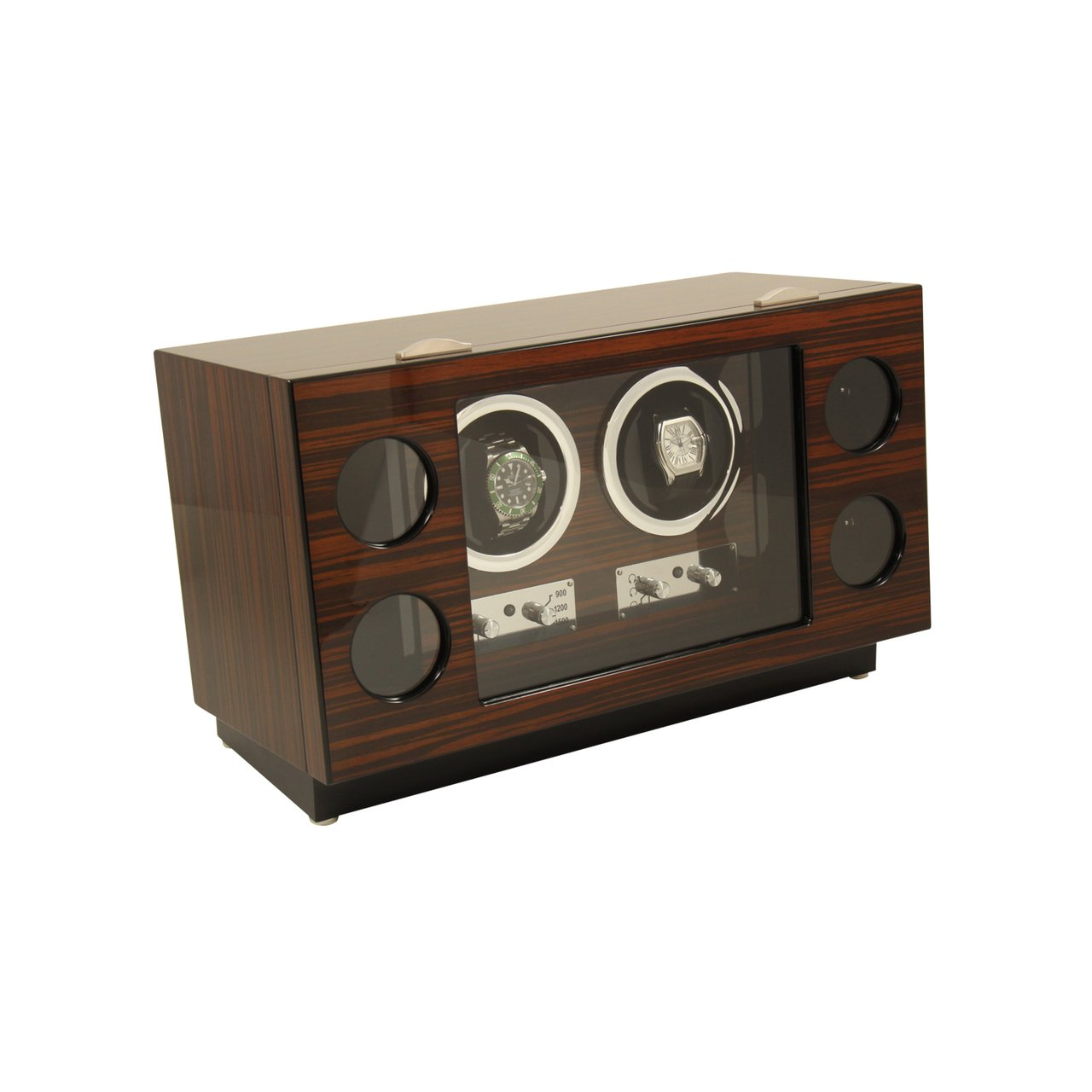 Bey-Berk Burlwood 2-Watch Winder 4-Watch Storage Box