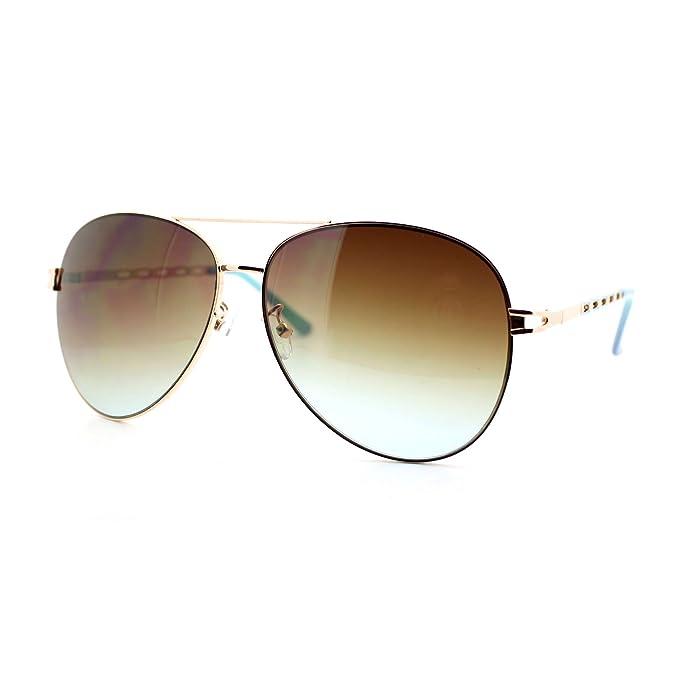 Amazon.com: Womens Retro Lujo Moda Aviator anteojos de sol ...