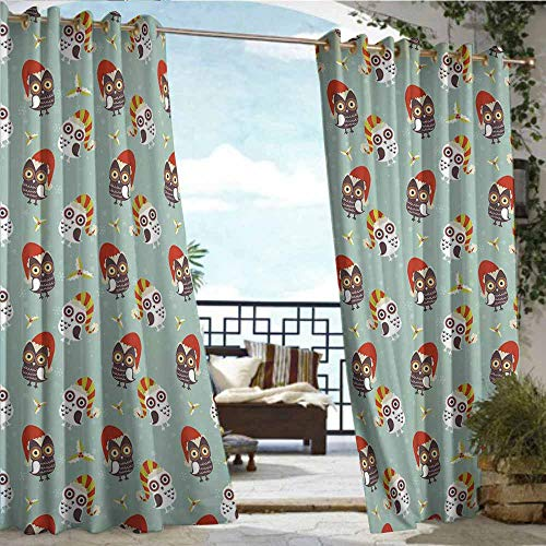 Qenuan Outdoor Curtain Modern,Christmas,Cute Owls in Hats Ready for Xmas Party Mistletoe and Faded Snowflakes Yuletide,Multicolor,Grommet Top Insulated Drapes for Pavilion/Gazebo/Deck,63