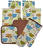 7 Pieces 100% Cotton Kitchen Linen Set. (Oven Mitt, Kitchen Towels, Dish Cloths and Pot Holders) (Coffee-1)