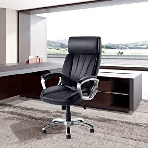 Tribesigns High Back Office Chair Adjustable Ergonomic Desk Chair with Padded Armrests,Executive PU Leather Swivel Task Chair with Lumbar Support (Black)