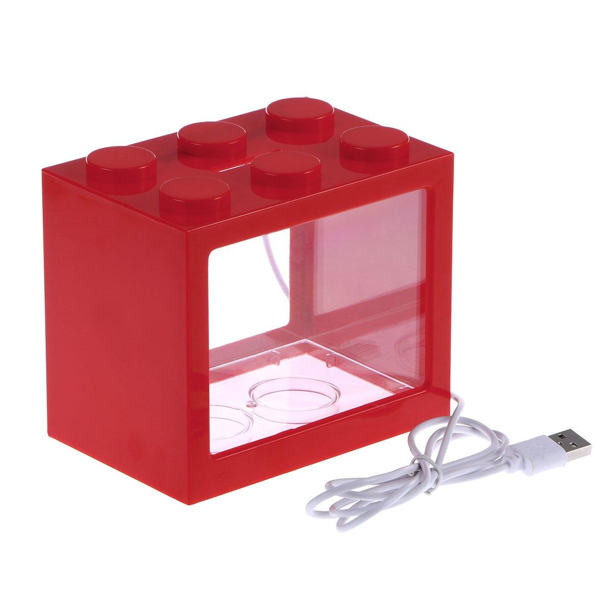 VORCOOL LED Acquario piccolo a USB di pastica in Rosso