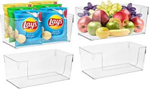 Sorbus Open Plastic Storage Bins Clear Pantry Organizer Box Bin Containers for Organizing Kitchen Fridge, Food, Snack Pantry Cabinet, Fruit, Vegetables, Bathroom Supplies, Wide Rectangular (4-Pack)