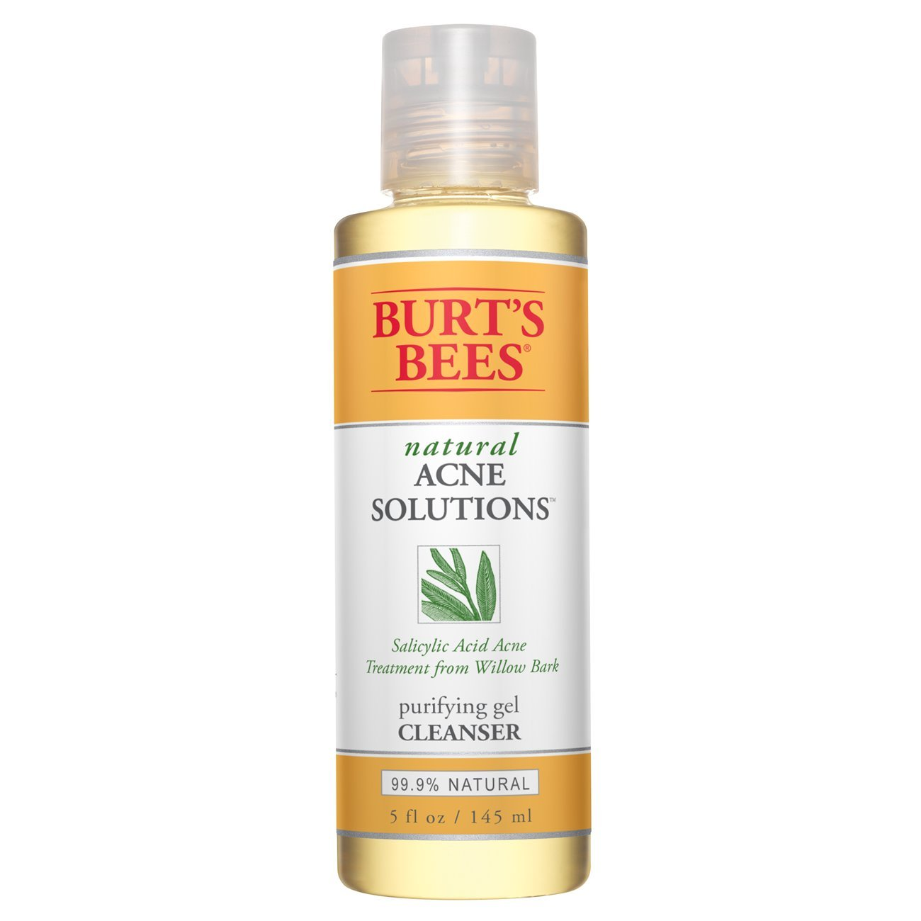 Burt's Bees Natural Acne Solutions Purifying Gel Cleanser, 5 Ounces, Pack of 3