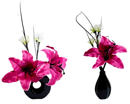 Two matching hot pink silk lily flower arrangements in vases amazon two matching hot pink silk lily flower arrangements in vases mightylinksfo