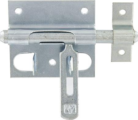 Long Platine mm.80 x 70 x 1,6 mm.120 Verrou de box ou targette porte-cadenas-acier zingue blanc /Ø mm.12