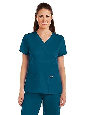 Grey's Anatomy 4153 Women's Mock Wrap Top Bahama XXS