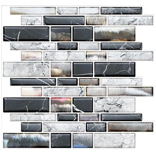 "Stick On Tiles for Backsplash Kitchen | Self-Stick Backsplash Tiles | Peel and Stick, Self Adhesive, Removable Backsplash Wall Tile Stickers - 10"" x 10.5"" (10-Pack)"