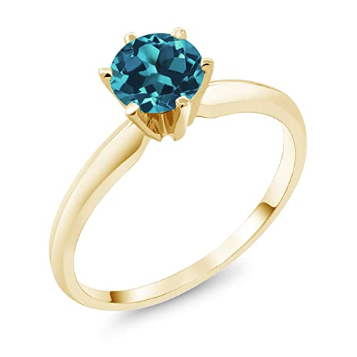 Gem Stone King 14K Yellow Gold London Blue Topaz Women s Solitaire Ring 0.75 Ctw Available 5,6,7,8,9