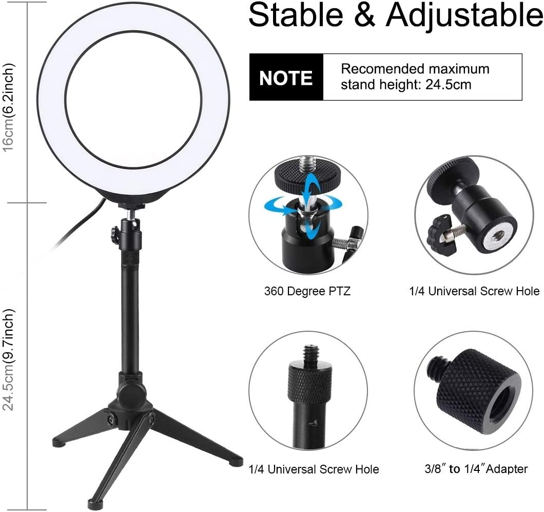 HUIFANGBU 6.2 inch 16cm USB 10 Modes 8 Colors RGBW Dimmable LED Ring Vlogging Photography Video Lights Desktop Tripod Mount with Cold Shoe Tripod Ball Head Color : Black Black