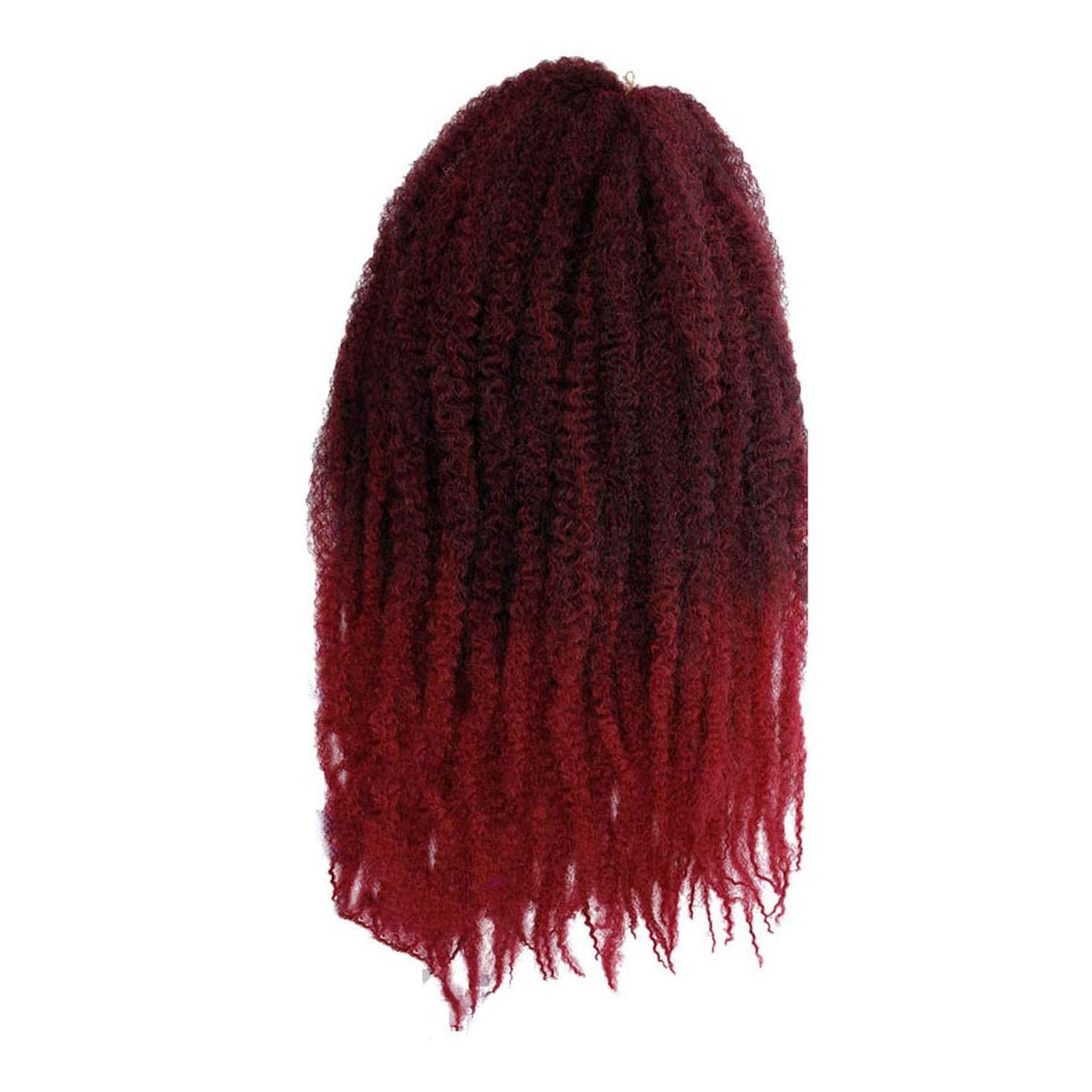 Crochet Braids Hair Ombre Afro Kinki Soft Synthetic Marley Braiding Hair Crochet Hair Extensions Bulk,T1B/Red,18 inch,7Pcs by Ting room