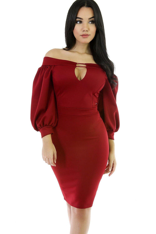 a0d59afdb67d Amazon.com  SunShine Blue Puffs Peep Hole Off Shoulder Midi Bodycon Dress  For Women  Clothing