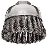 Weiler Wire Cup Brush, Threaded Hole, Steel, Partial Twist Knotted, Single Row, 2-3/4'' Diameter, 0.02'' Wire Diameter, 5/8''-11 Arbor, 1'' Bristle Length, 14000 rpm (Pack of 1)