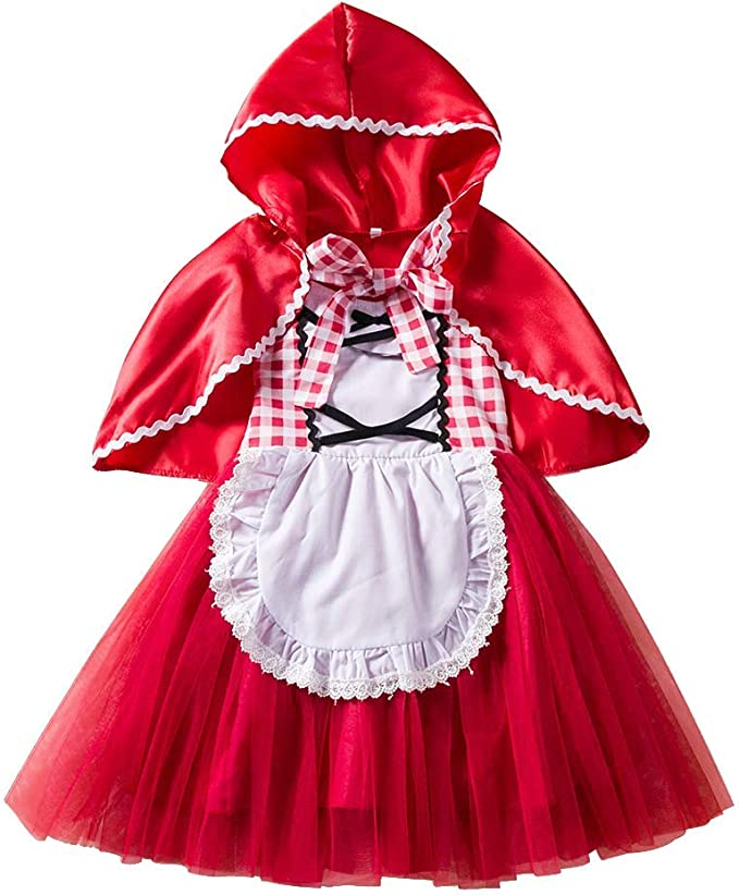 OwlFay Costume Carnevale Cappuccetto Rosso Bambina Ragazze Vestito Carnevale Principessa con Mantello Compleanno Cosplay Halloween Festa Cerimonia Natale Vestire 18 Mesi-6 Anni