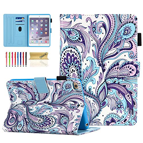 iPad Mini Case, Dteck Slim Fit Smart Premium PU Leather Multiple Viewing Folio Stand Wallet Cover with Auto Wake/Sleep for Apple iPad Mini 2/Mini 3/Mini 4/Mini 5, Peacock Flower