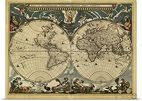 Amazon great big canvas poster print entitled 17th century great big canvas poster print entitled 17th century world map gumiabroncs Gallery