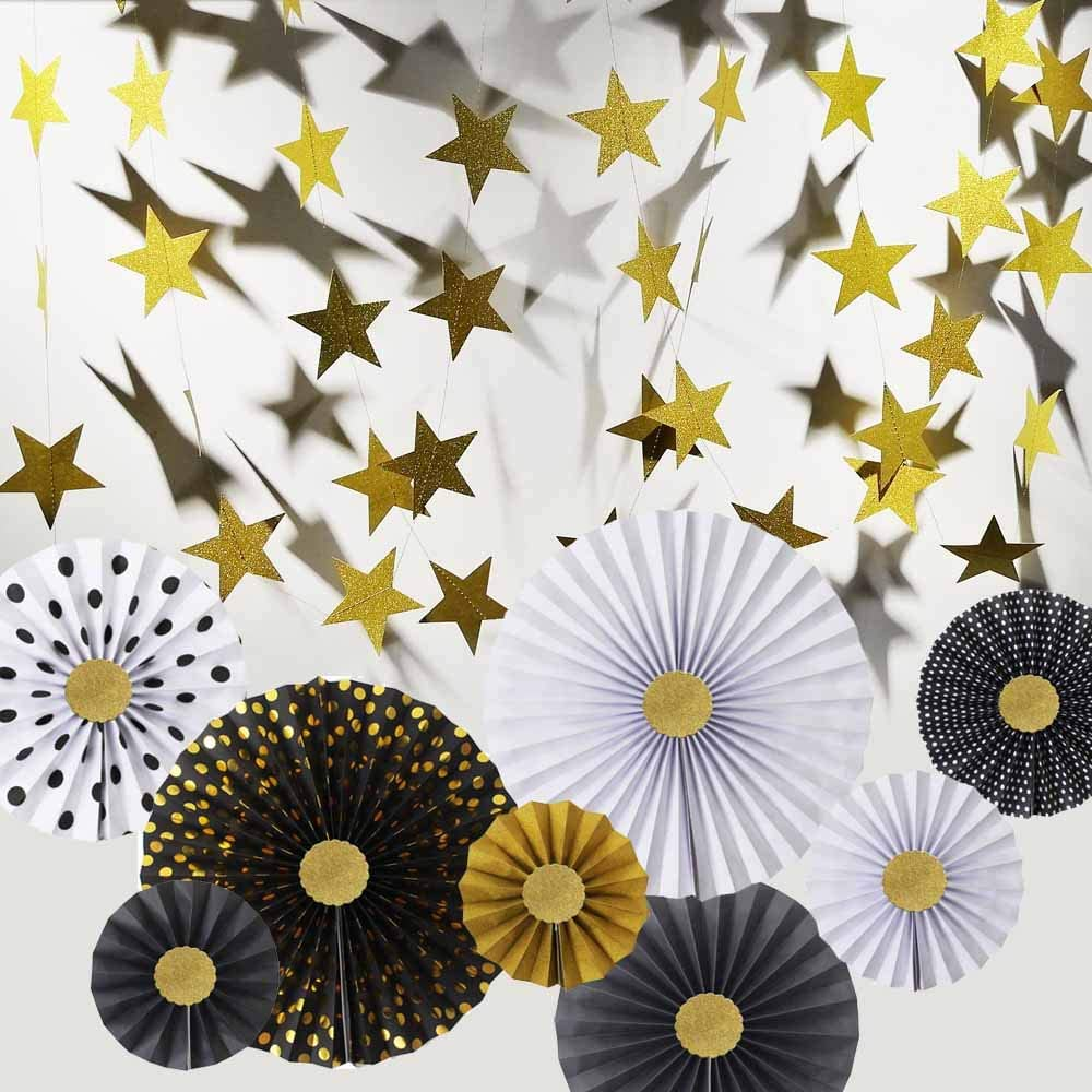 Hola Fiesta   Black White Gold Paper Fans Flower and 4mX2 Gold Stars Hangings for Celebration/Wedding/Carnival/Happy Birthday/Welcome Party Decorations,Gold and Blackwhite
