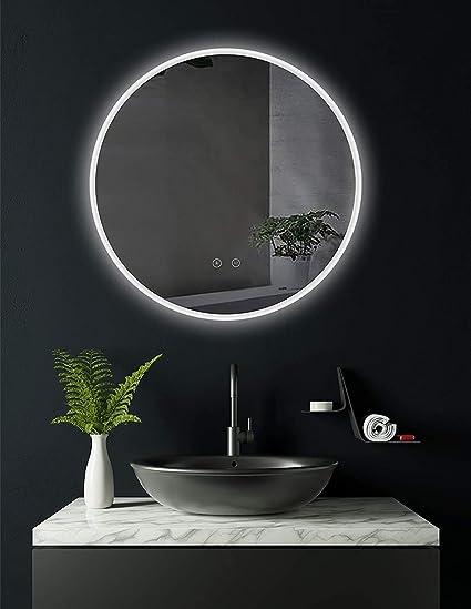 WeFun Miroir de Salle de Bain Commande Tactile /Éclair/ée,Angle Rond 80 * 60cm