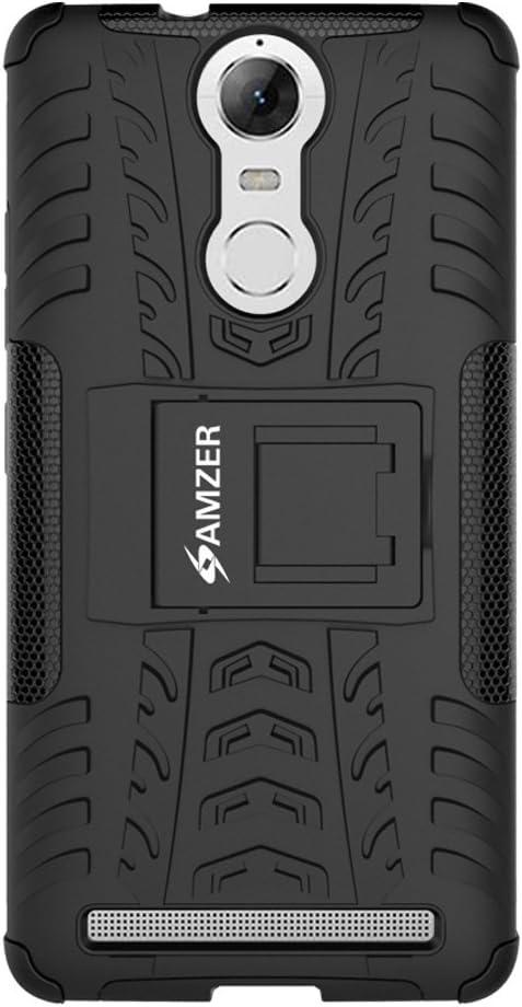 AMZER Hybrid Warrior Impact Resistant Case Skin for Lenovo K5 Note - Black/Black