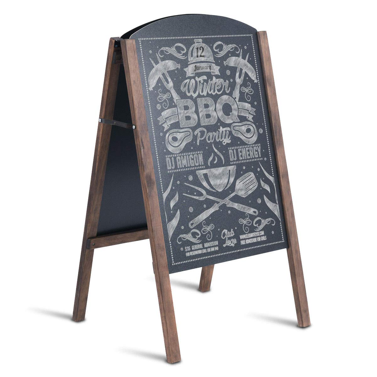 TANGKULA A-Frame Chalkboard Office Taching Rustic Wooden Double-Sided Standing Sidewalk Chalkboard Sign Sandwich Board 25.5x40 (S)