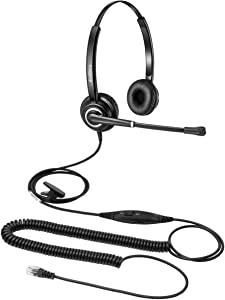 Phone Headset with RJ9 for Call Centers Office Telephone with Mic Mute and Volume Control Noise Cancelling Microphone for Avaya Nortel Bianural Corded