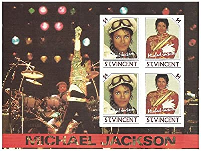 Michael Jackson live in concert Billy Jean imperforate stamp sheet for collectors - St. Vincent