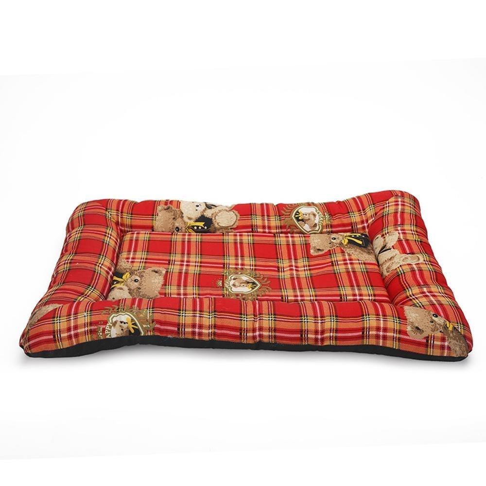 7656cm YunYilian Pet Bolster Dog Bed Comfort Cotton Kennel cat wo Lattice Pet Litter mat (Size   76  56cm)