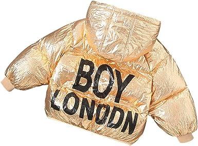 Bmeigo Kids Padded Overcoat Unisex Winter Jacket Hooded Quilted Glitter Coat