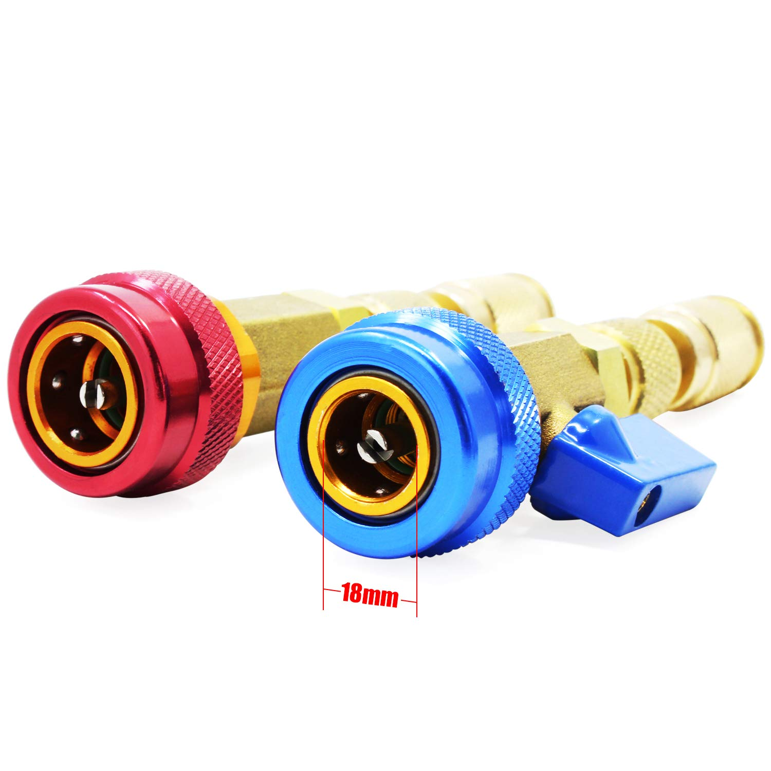 HSeaMall 2PCS Air Conditioning R134A Valve Core Quick Remover Installer High Low Pressure Tool Auto Car Air-conditioning R134a Repair Tool Accessories Blue and Red