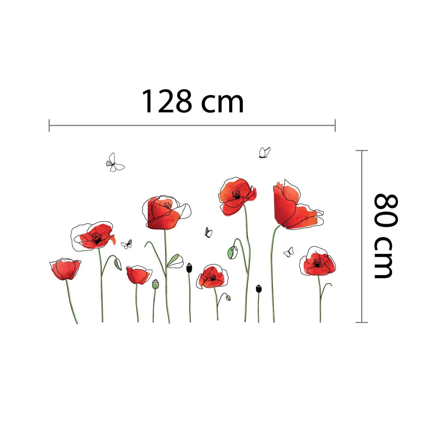 Wall Stickers''Poppy Butter'' Wall Murals Removable Self-Adhesive Decals art Nursery Kindergarden School Kids Room Restaurant Bar Cafe Hotel Home Decoration