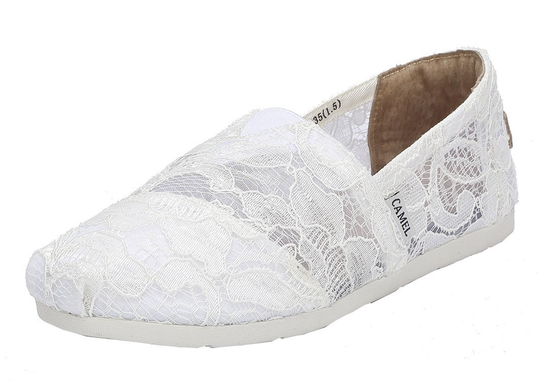 Camel Women's Slip on Shoes Classic Casual Flats Mesh Comfort Loafers Color White Size 8