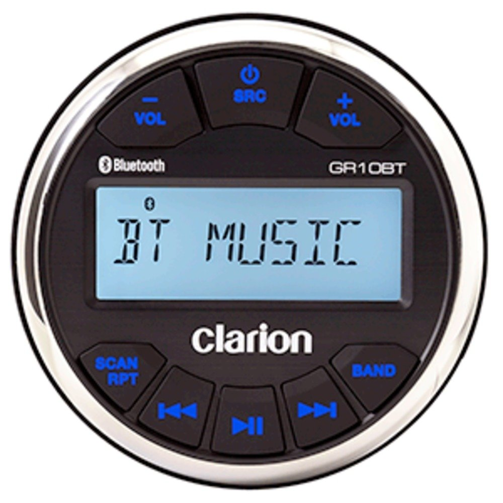 Clarion GR10BT Marine USB/MP3/WMA Gauge-Hole Digital Receiver with Built-In Bluetooth