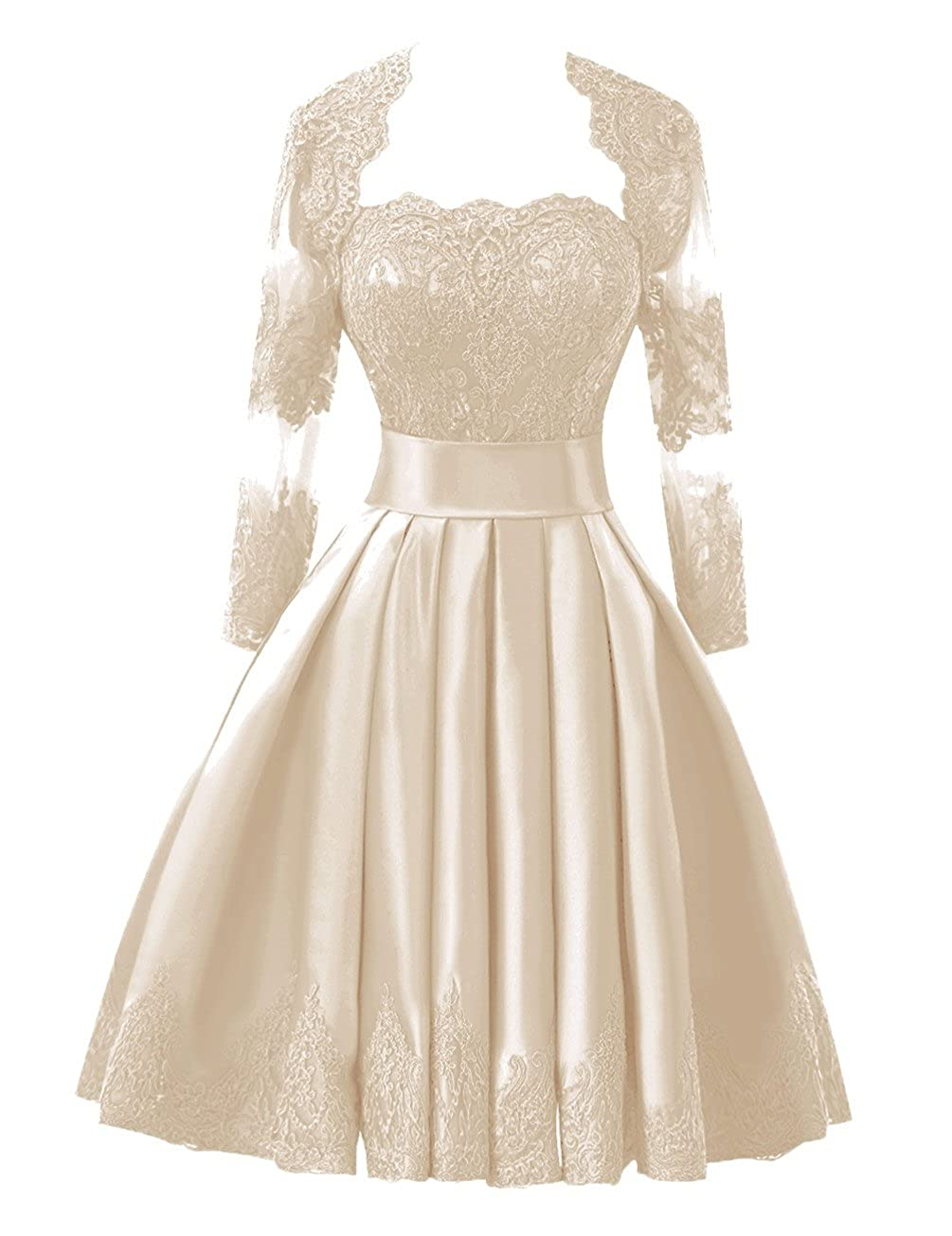 27f9602ad03f Bridal Women's Lace Short Prom Homecoming Dresses with Long Sleeve Jacket  Champagne Bess ncwcdu1830-Prom & Homecoming