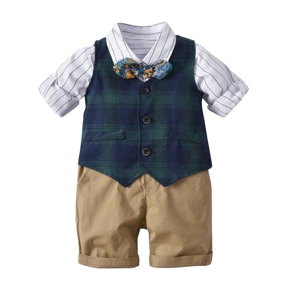 QTONGZHUANG Camicia gilet scozzese da uomo, abito da bambino, abito da quattro pezzi, ragazzo britannico, vestito a maniche corte