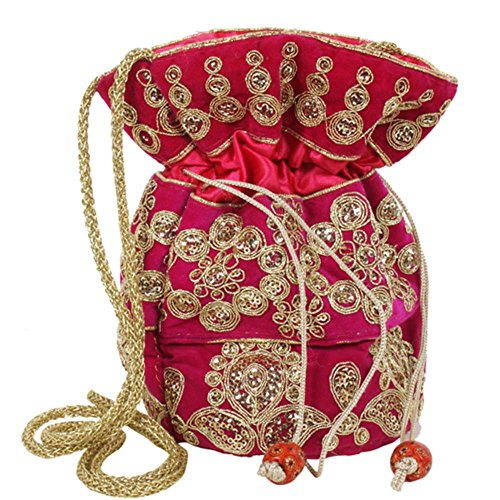 Purpledip Potli Bag (Clutch, Drawstring Purse) For Women With Intricate Gold Thread & Sequin Embroidery Work Pink