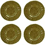 Beaded Coasters set of 4 - Swirl Gold - by Cotton Craft - Size 4 inches round - Hand crafted - Other colors available - Red and Silver - Coordinating Placemat, Runner and Napkin Ring also available and sold separately