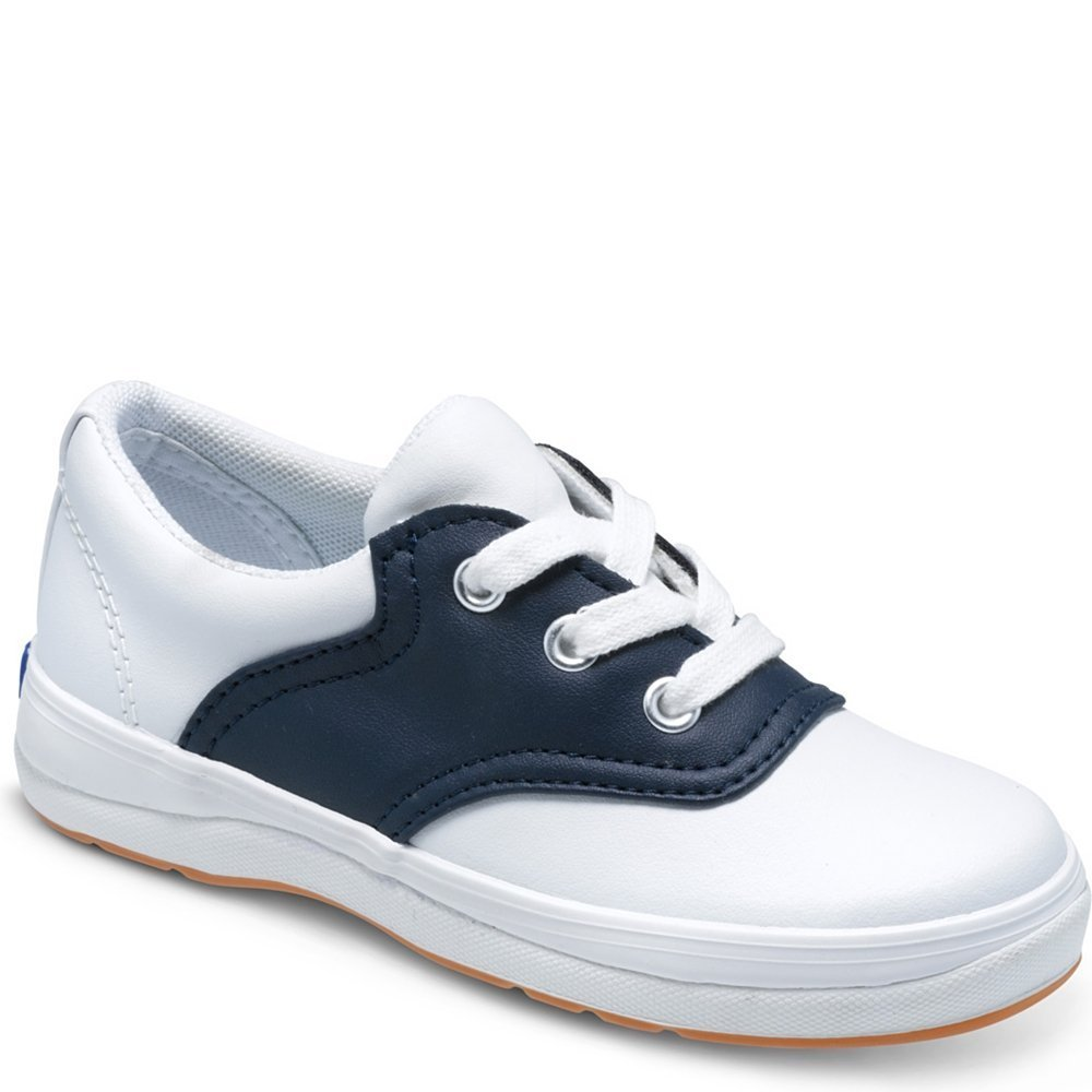 Keds School Days II Sneaker (Little Kid/Big Kid),White/Navy,1 M US Little Kid